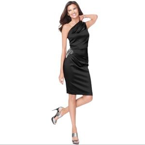 ELIZA J One Shoulder Cocktail Beaded Midi Dress
